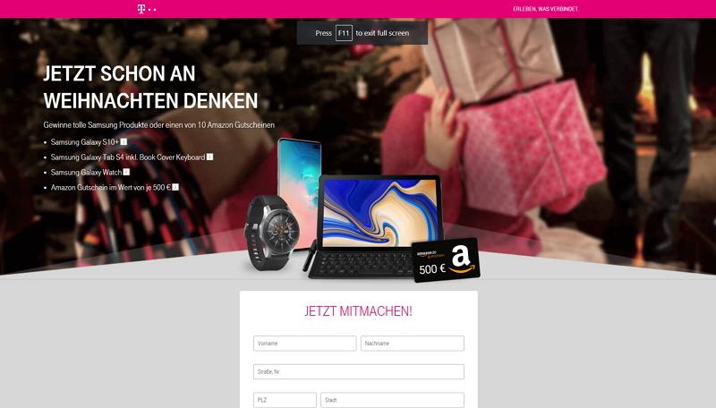 telekom adventskalender homepage